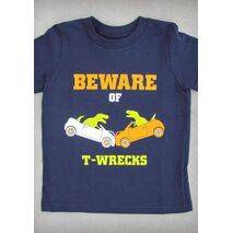 BEWARE OF T-WRECKS – YOUTH BOY CHARCOAL GRAY & NAVY BLUE T-SHIRT