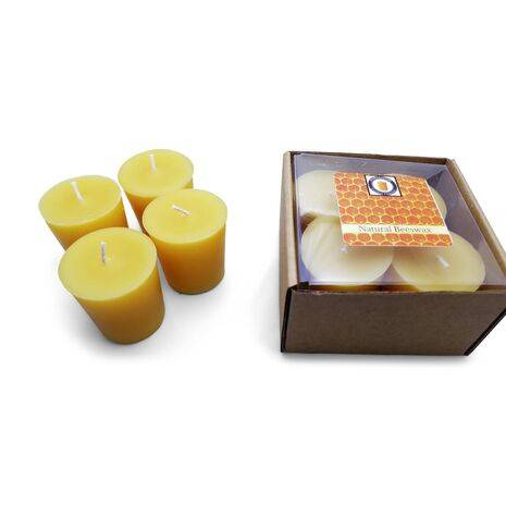 Natural Honey Scented 100% Beeswax Votives Candles 4 Piece