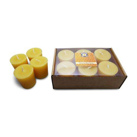 Natural Honey Scented 100% Beeswax Votives Candles 6 Piece