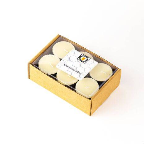 White Unscented 100% Beeswax Tealights Candles 12 Piece